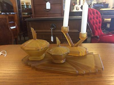 Orange Art Deco Glass Candlestick Two Lidded Pots And A Tray