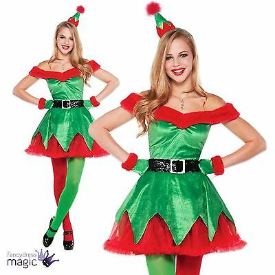*Ladies Womens Adult Sexy Little Helper Christmas Elf Fancy Dress Party Costume*