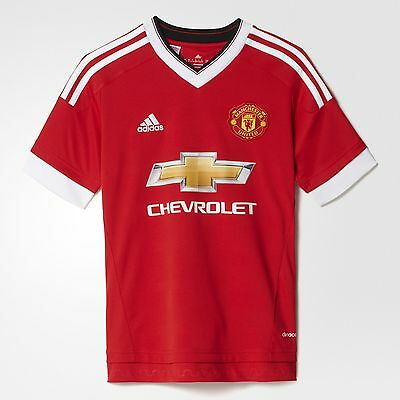 adidas Boy's Manchester United Home Football Shirt MUFC Team Jersey Red & White