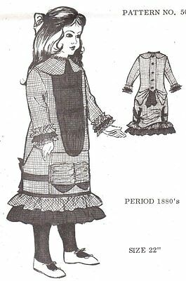 "fits 22"" Period DOLL DRESS PATTERN Victorian German French"