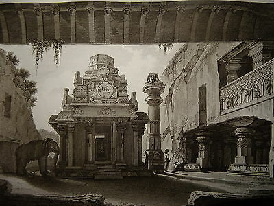William DANIELL ENGRAVING TEMPLE INDRA INDIA HINDOUSTAN FLORA TAMIL NADU 1820