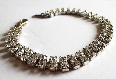 Vintage 1980S Silver Tone Clear Crystal 2 Tiered Bracelet