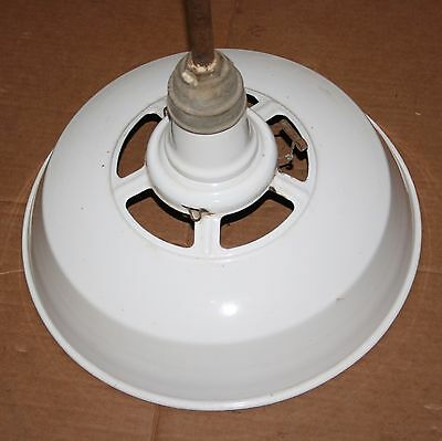 "Vintage White Porcelain Enamel 18"" Diameter Industrial Age Ceiling Light Fixture"