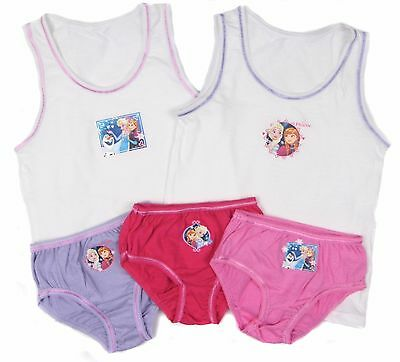 Girls Frozen Vest and Briefs Set 3 Pants Knickers 2 vests 2-3y up to 7-8y