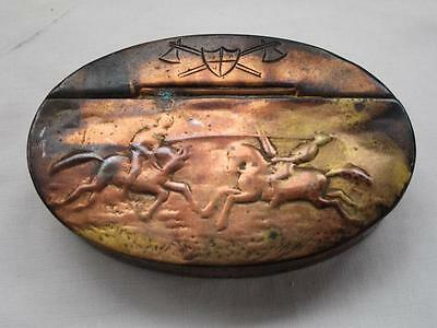 Fine Antique Brass Snuff Box, Knights Jousting On Lid