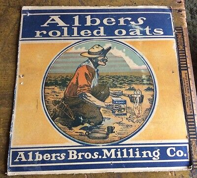 Vintage Albers Bros Milling Gold miner Sign Colorful Advertising Carton 1900s