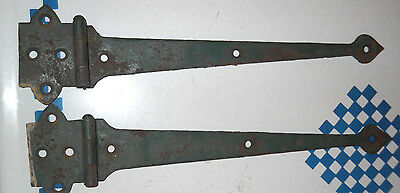 old IRON DOOR HINGES OLD CUPBOARD! OLD GREEN PAINT 13""