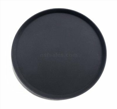 New Star 25330 NSF Plastic Round Rubber Lined Non-Slip Tray, 18-Inch, Black New
