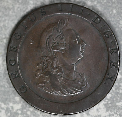 Original Problem-Free 1797 Great Britain Penny Large Copper Coin