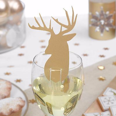 Pack Of 10 Winter Wonderland Deer Christmas Glass Decorations/Place Cards - NEW