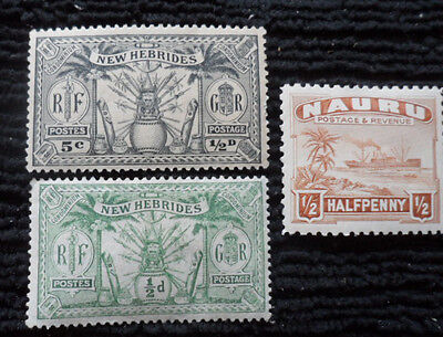 New Hebrides Nauru Mint Stamp Collection Lot of 3 - AUSTRALIA