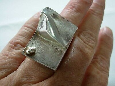 Rare 1970 Bjorn Weckstrom Lapponia Finland Sterling Space Series Modernist Ring