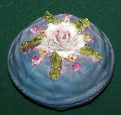 Vintage Germany Blue Lustreware Rose & Flowers Basket Lidded Jewelry Trinket Box
