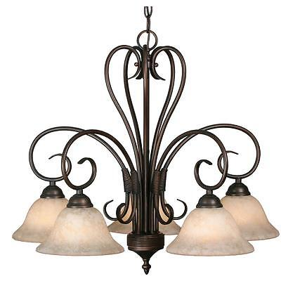 Metal 5 Light Nook Chandelier with Stained Glass Shades Rubbed Bronze Finish