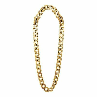 Mens Gold Gangster Chain 81cm Accessory for 70s Bling Jewellery Fancy Dress