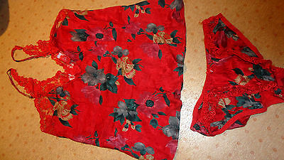 RED Silkscreen Lace Pure Real Silk Lingerie Set Small UK 6 8 10 Camisole Bottom