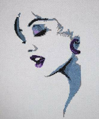 Beautiful Woman Finished Completed Face Wall Art Hand Embroidery Cross Stitch