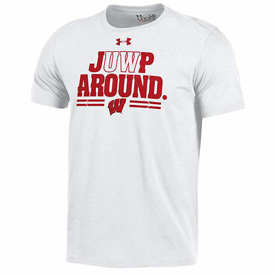 Wisconsin Badgers Under Armour Jump Around Charged Cotton T-Shirt - White - NCAA