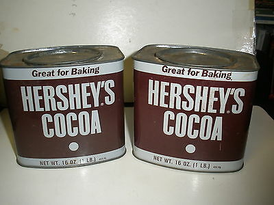 2 Vintage Tin Advertising Hershey's Cocoa 16 Oz Chocolate Baking Powder Special