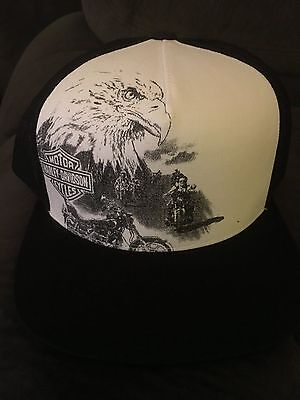 Harley-Davidson® Mens Eagle Riders with B&S Flat Brim White Cotton Baseball Cap