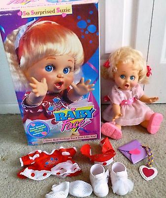 """1990 Galoob Baby Face Doll """"So Surprised Suzie"""" 13"""" Tall, - Mint, extra clothing"""