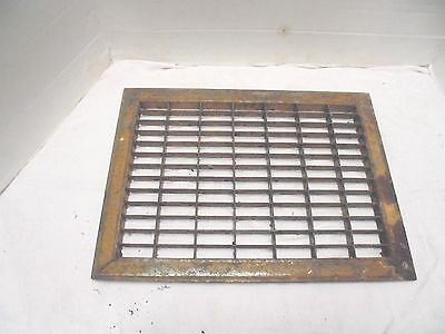 "metal furnace air grate pressed steel 13-3/4"" X 9-3/4"" opening industrial decor"