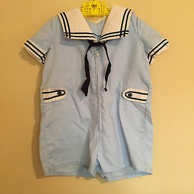 Boys Nautical Sailor Suit, Vintage 1980s Handmade Baby Blue Sailor Romper, Nauti