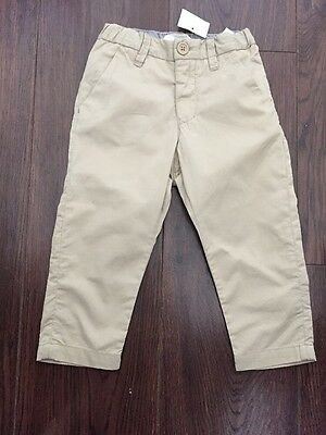 H&M.Boys.Toddler.Brown/ Beige.Trousers.Age 1 1/2-2 Years.Adjustable Waist.New