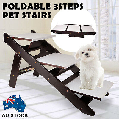 Foldable Pet Dog 3 Steps / Ramp Portable Cat Multi Stairs Ladder Washable Cover