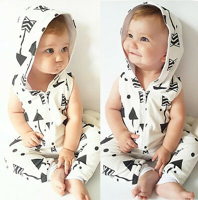 AU Newborn Infant Baby Boys Girl Romper Hooded Jumpsuit Bodysuit Clothes Outfit