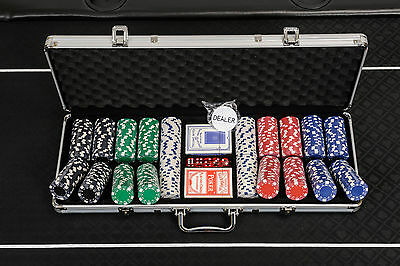 Dice Poker Chips Set - 500 Piece Poker Set in Case (Free Extras)