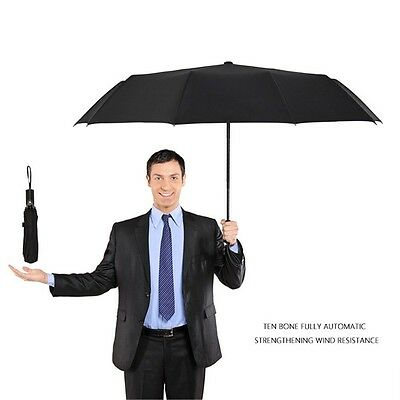 Mens Business Auto Open&Close Compact Folding Travel Umbrella Strong Windproof