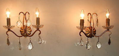 Pair Antique  French  Gilt Forged Iron Wall Light Sconces With Crystal Drops