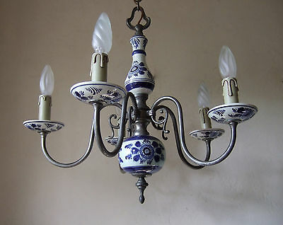 Classic Antique  French Pewter And Delft Ceramic Five  Branch Chandelier