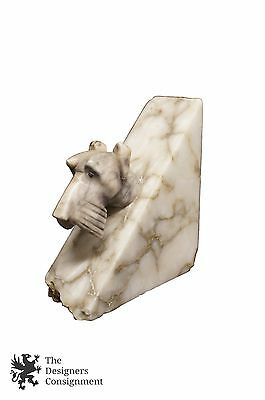"Antique White Marble Scotty Dog Scottish Terrier Book End 4.5"" Estate Import"
