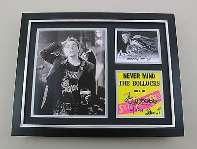 Johnny Rotten Signed Photo Framed 16x12 Sex Pistols Autograph Music Display COA