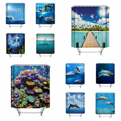 Waterproof 3D Seascape Printed Bathroom Shower Curtain with Hooks Home Decor