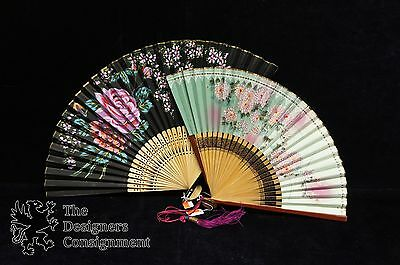 2 Vintage Hand Painted Japanese Hand Fans Rose Lacquer Antique?