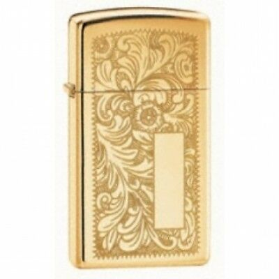 Zippo Slim Venetian High Polished Brass Lighter Brand New