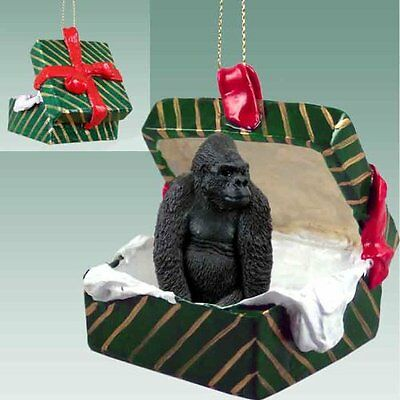 GORILLA Ape Green Gift Box Holiday Christmas ORNAMENT