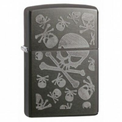 Zippo Iced Skulls Grey Dusk Lighter Brand New