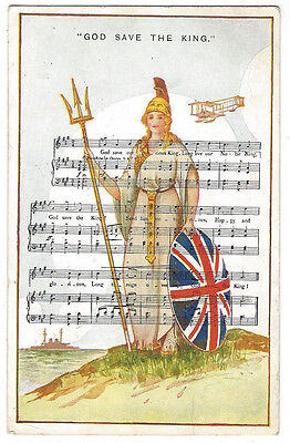GOD SAVE THE KING Britannia, Patriotic Postcard Postally Used c1908