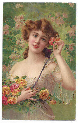 EMILE VERNON Beautiful Young Lady with Roses, Postally Used Postcard 1911