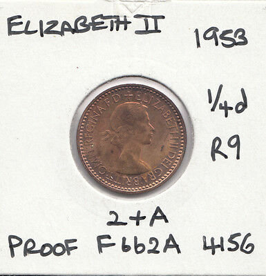 1953 QEII Proof farthing Spink S4156 Freeman F662A with dies 2+A