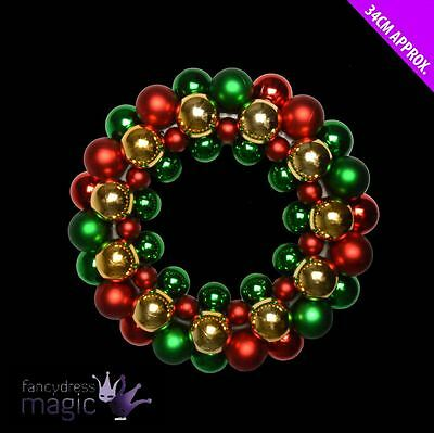 *Christmas Xmas Door Gold Green Red Shiny Bauble Baubles Wreath Decoration 34cm*