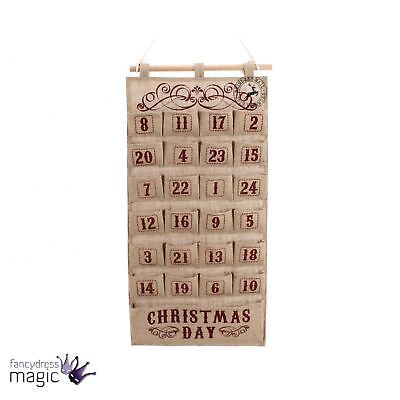 Large Rustic Hessian Wall Hanging Advent Calendar Christmas Countdown Decoration