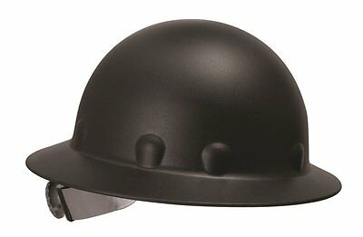 Fibre Metal Roughneck Black Full Brim Fiberglass Hard Hat, Ratchet Suspension