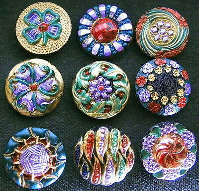 Collection of 9 Czech ANTIQUE (1920's) Glass Buttons #G462 - RARE !!!