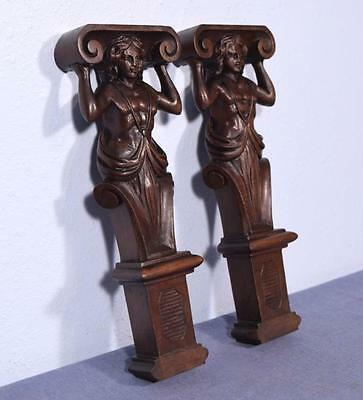 "*13"" Pair of Antique Carved Figures/Support Posts Pillars Architectural Walnut"
