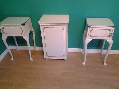 Pair Louis XV style bedside cabinets  side table white paint finish & linen box